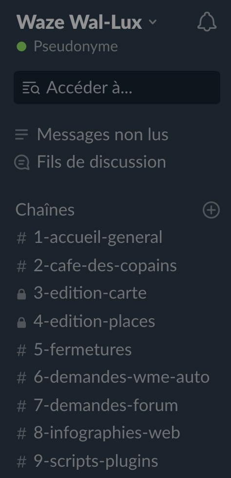 Capture d'écran des canaux Slack